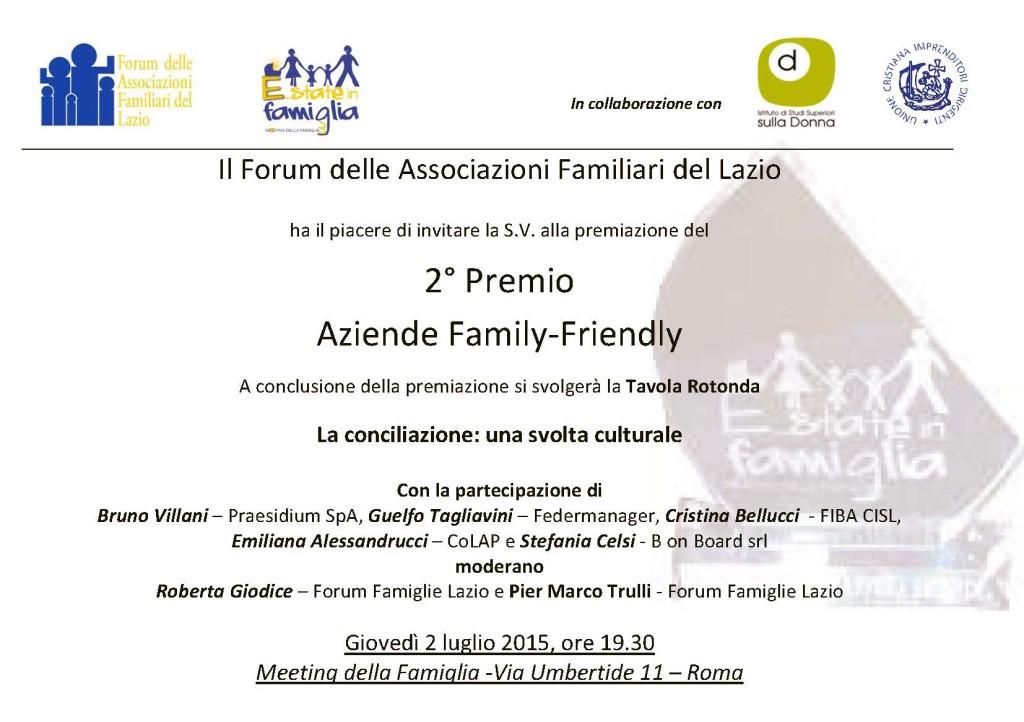 Invito Premiazione Aziende Family Friendly 2015